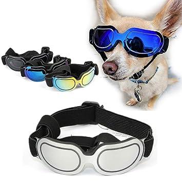 SymbolLife Gafas de Sol para Perros Gatos Perro Gafas para Perros pequeños y medianos Impermeable Protector Ocular Protección UV Antivaho Ajustable ...