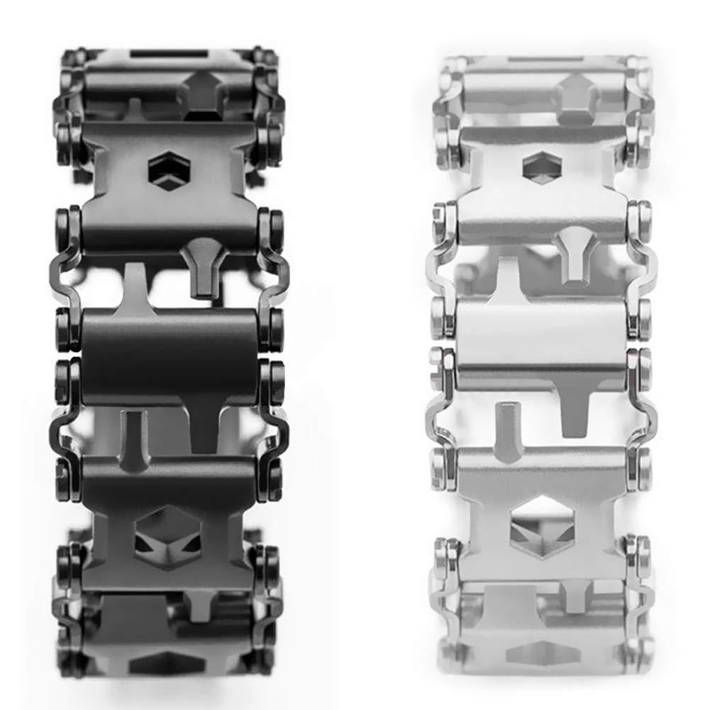 acciaio inossidabile Indossabile Battistrada multifunzione 29 IN 1 Cacciavite a bracciale Strumento per la vela//Viaggi//Escursionismo Kit di emergenza allaperto barsku Bracciale multifunzione