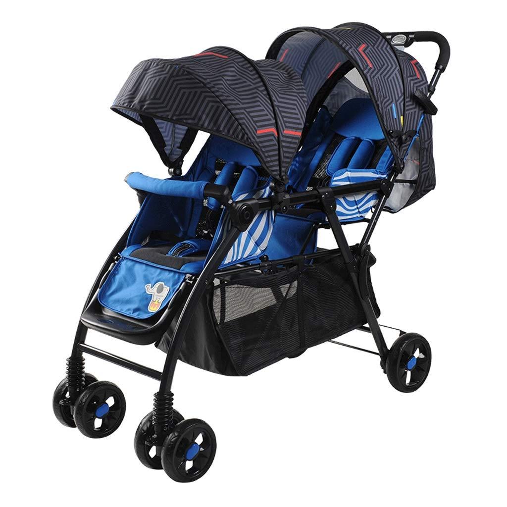 Los cochecitos de bebé gemelos se pueden sentar reclinables, ligeros y plegables, dos neumáticos, carrito de paseo, doble cochecito (Color : B)