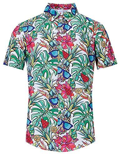 TUONROAD Tacky Beach Theme Hawaiian Island Shirt Summer Pineapple Sunglasses Red Hibiscus Bright Prints Short Sleeve Shirt Retro Tropical Shirts Vintage Designer Button Down Shirt XXL Luau Clothes -