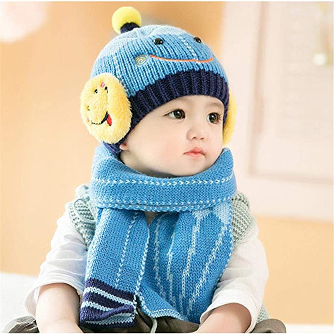6d54125126d6ef Amazon.com: 2pcs/Set Winter Baby Hat and Scarf Cute Crochet Knitted Pattern  Caps for Infant Boys Girls Sombrero Children Kids Scarves Caps (Blue):  Clothing