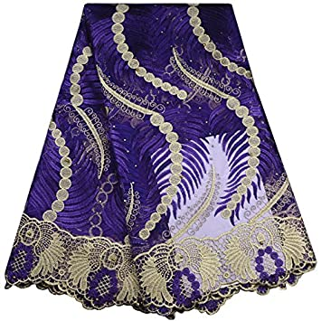 Purple KENLACE 5Yards African Cord Lace French Lace Fabric with Stones Blue Color African Lace Fabric for Nigerian Wedding Dress