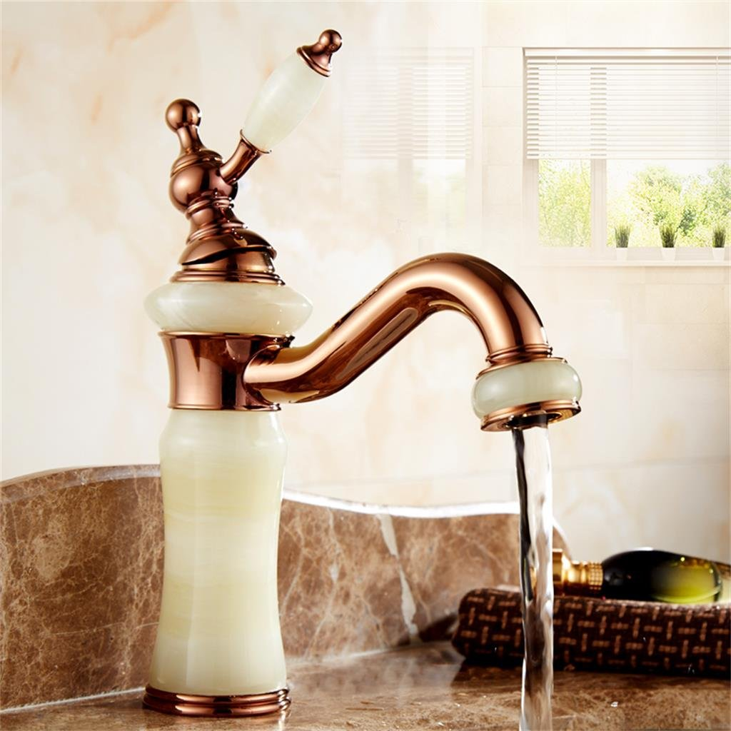 2 Sun LL European Antique Brass Brass Imitation Jade Ti-PVD pink gold Bathroom Sink Faucet ( color    2 )