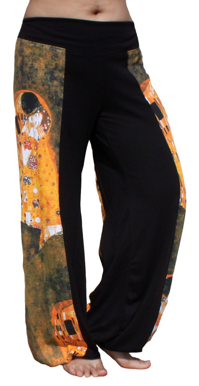 Raan Pah Muang Brand Side Patch Billowy Pants Gustav Klimt The Kiss, X-Large by Raan Pah Muang