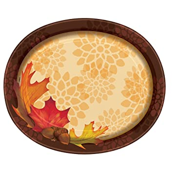 Fall Leaves Oval Paper Plates 8ct  sc 1 st  Amazon.com : fall paper plates - pezcame.com