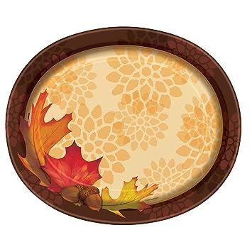 sc 1 st  Amazon.com & Amazon.com: Fall Leaves Oval Paper Plates 8ct: Kitchen u0026 Dining
