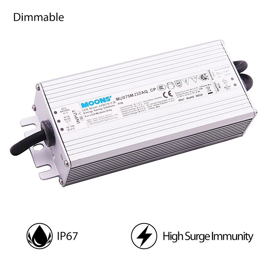 MOONS' IP67 Waterproof 75 Watt Dimmable LED Driver Power Supply Outdoor 90~305Vac 21-54V 1400mA(Default) Output Constant Current Programmable led Driver with 0-10v dimming