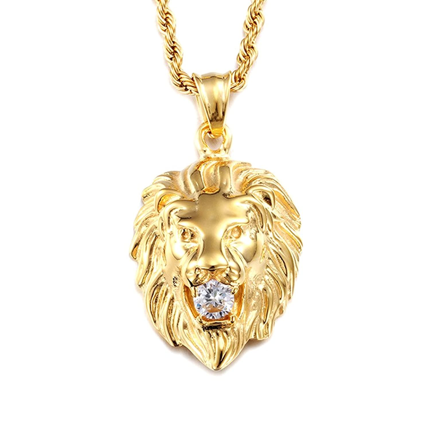 realreal leo products necklace yellow chain gold malachite jewelry pendant necklaces with enlarged the lion