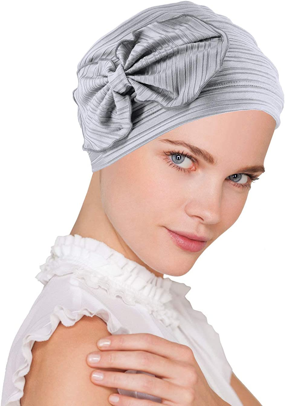 Chemo Winter Hat Soft Ribbed Flower Bow Cloche Beanie Cancer Cap Turban