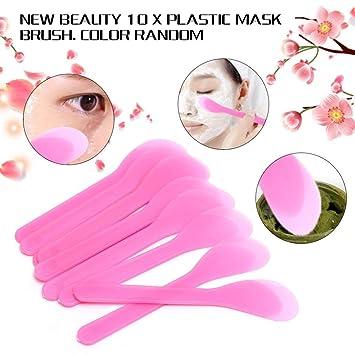 Gaddrt Homemade 10pcs Mask Brush Plástico Facial Cuchara Stick Maquillaje Belleza DIY Herramienta