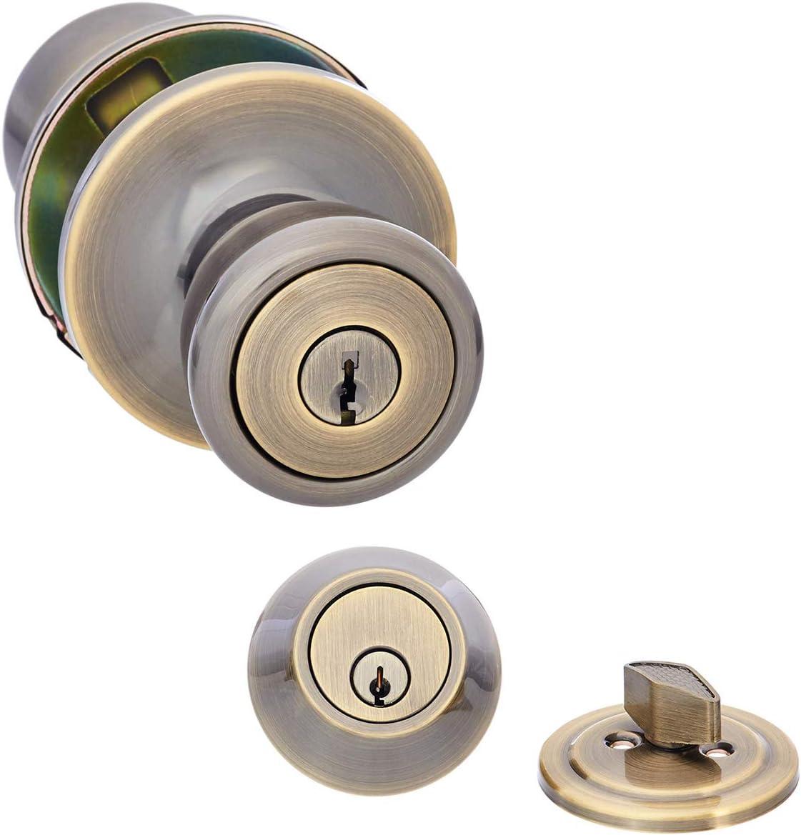 AmazonBasics Entry Door Knob With Lock and Deadbolt, Bell, Antique Brass