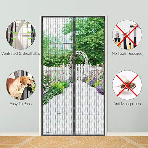 Magnetic Screen Door, KOMAKE Door Screen Curtain Hands Free Mesh Screen Partition Keep Bugs Out Pet and Kid Friendly, Fits Door Size up to 36 x 82 Max- Black ... (Polyster)