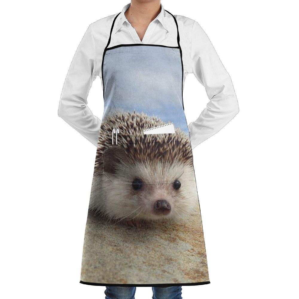 BOBIMU Cute Hedgehog Polyester Kitchen Apron Cooking Baking Garden Chef Apron Bib With Pocket For Women