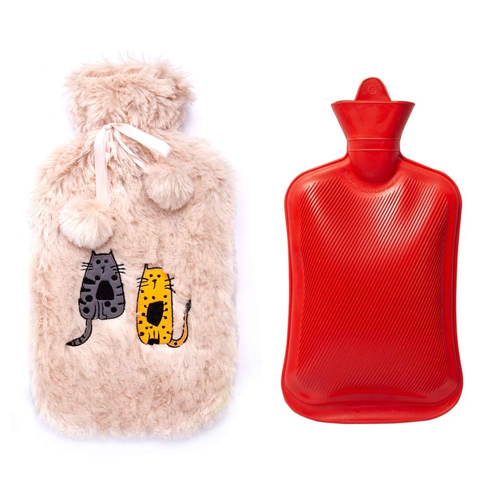 2 l Kapazit/ät Gelbe Farbe Spezielles K/ünstlerdesign Soft Rubber Tasse Gemusterte Biggdesign Pl/üsch Warmwasserbeutel