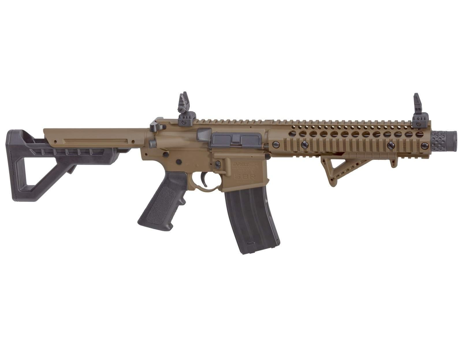 Crosman DPMS SBR Full Auto CO2 Air Rifle, 177 Caliber BB Flat Dark Earth Synthetic Stock(DSBRFDE), Caliber: .177 by Crosman