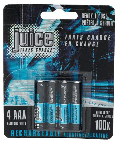 Juice Rechargeable Alkaline Batteries, Size AAA, 4-Count Packages (Pack of 3)