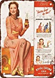 1944 Barbara Stanwyck for RC Cola Vintage Look Reproduction Metal Signs 6X9 Inches