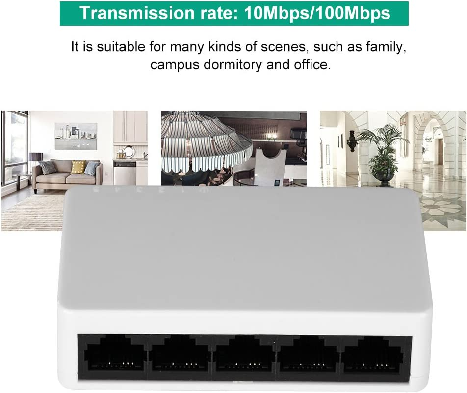 Yoidesu Mini 5 Port Ethernet Network Switch 100MB High Performance High Speed Desktop Switch Full//Half Duplex Self-Adaptive Network Switch Switcher Plug-and-Play Traffic Optimization