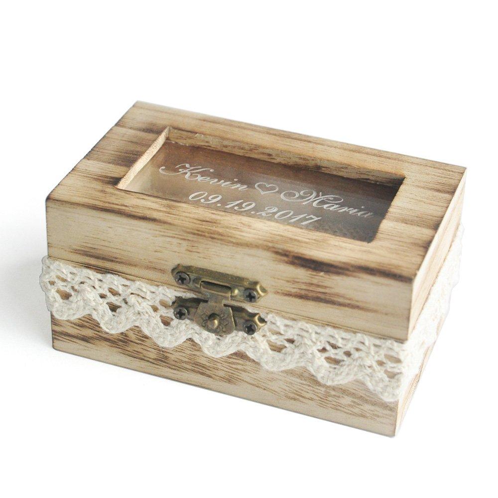 Personalized Wedding Ring Box, Glass Ring Bearer Box, Engraved Ring Box,Custom Ring Box