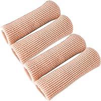 MQFORU Adjustable Cuttable Gel Toe and Finger Cap Toe Finger Cushion Gel Tube Lined Gel Toe Covers Sleeves Protectors Ribbed Knit Toe Caps Silopad Digital Caps 4PCS (S)