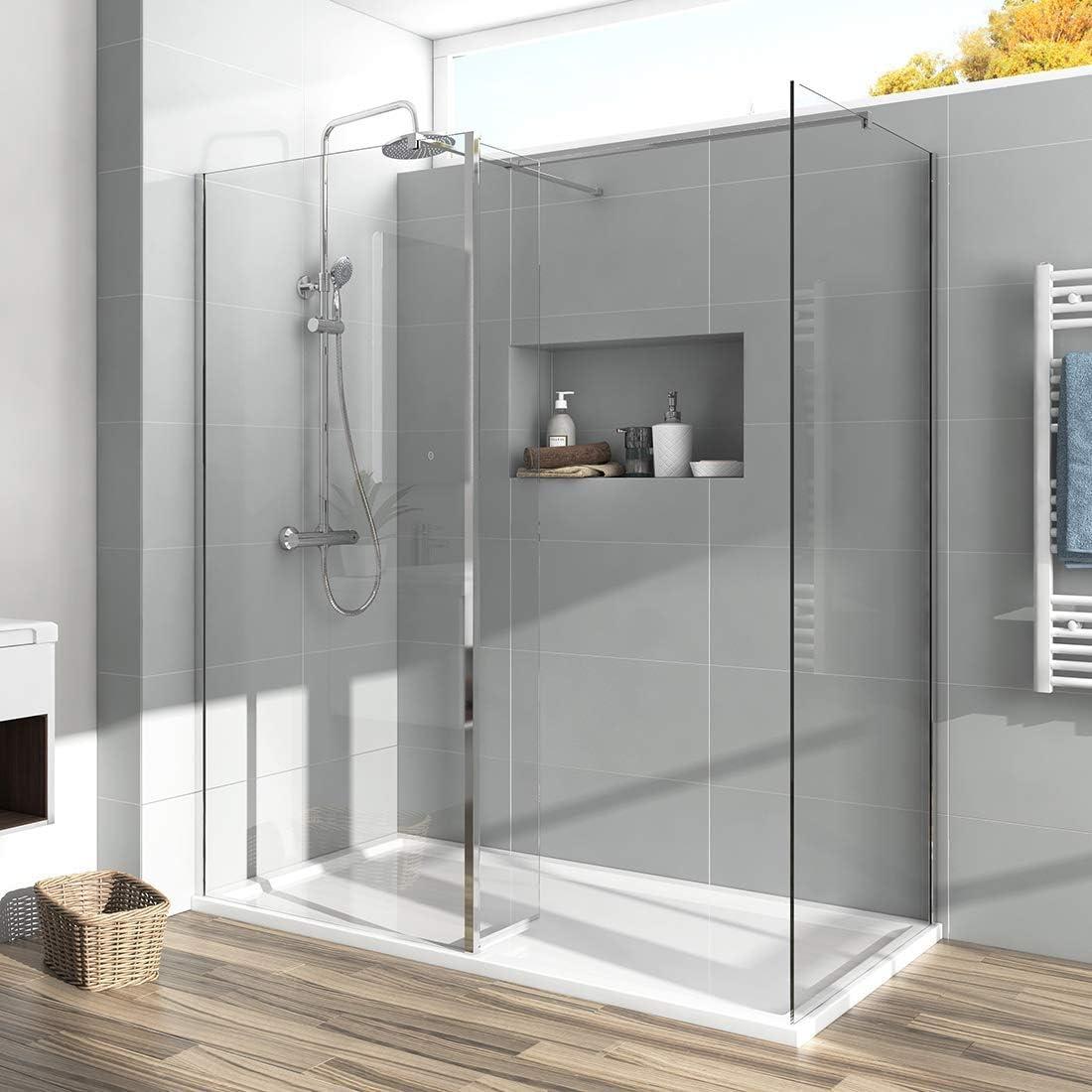 Mampara de ducha de 700 x 1200 mm con panel de 300 mm y bandeja de ducha de piedra de 8 mm, fácil de limpiar: Amazon.es: Bricolaje y herramientas