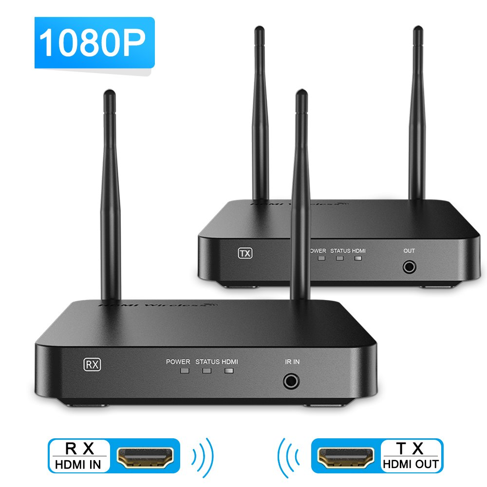 SANNCE 1080P Wifi Wireless HDMI Extender Video Kit with Transmitter and Receiver, 328 Feet Video Transmission, Supporting Full HD 1080P with IR Signal Transmission