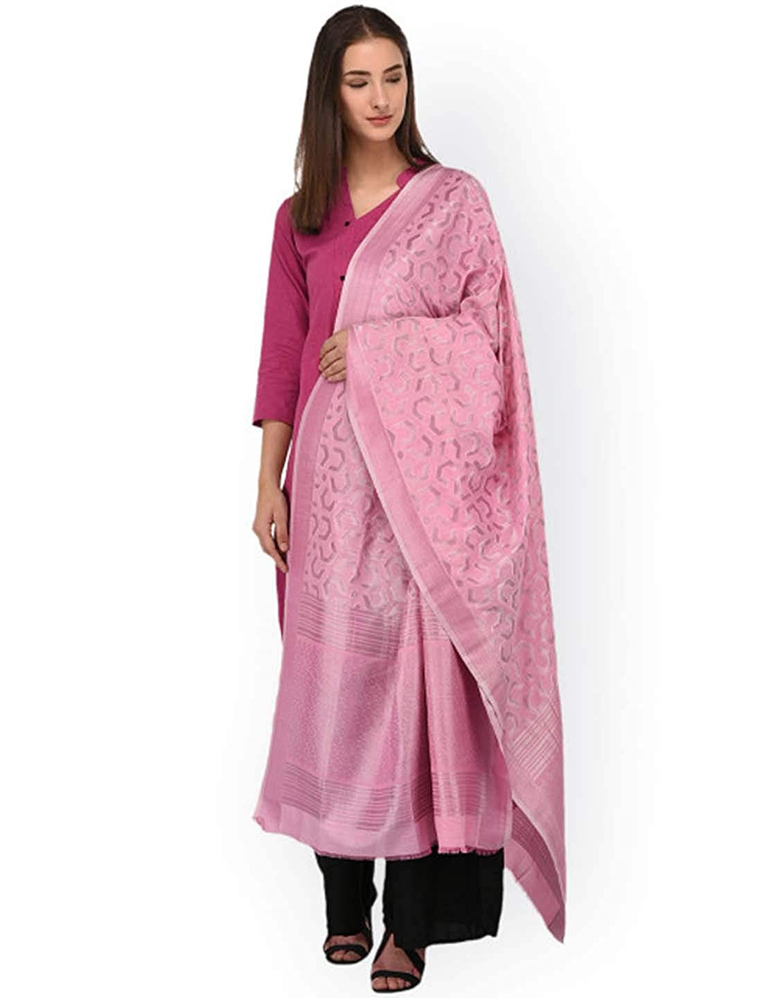 Indian Handicrfats Export SHINGORA Pink Woven Design Dupatta