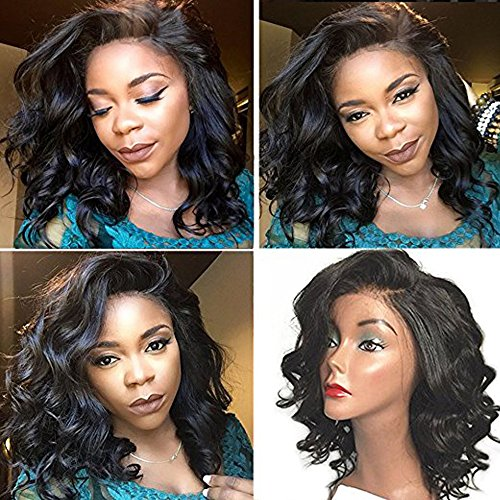 Elva Hair Glueless Full Lace Wigs Unprocessed Brazilian Virgin Hair Full Lace Human Hair Wigs for Black Women,lace Front Wig Short Wigs (14inch, Lace Front Wig) (Wave Hair Wig)