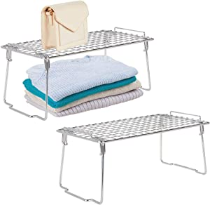 mDesign Versatile Metal Wire Stackable Closet Storage Organizer Shelf for Storage and Organization in Bedroom, Bathroom, Kitchen and Office Shelves - Easy Install - 2 Pack - Chrome