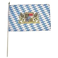 Fahne, Bayern mit Wappen, Holzstiel, Größe 30 x 45 cm