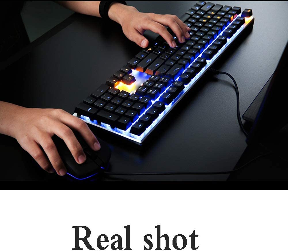 /& E-Sports Game Mechanical Wired Keyboard 108 Key Cool Mixed Light RGB Backlit Keyboard USB Interface //-// Jian E Color : A