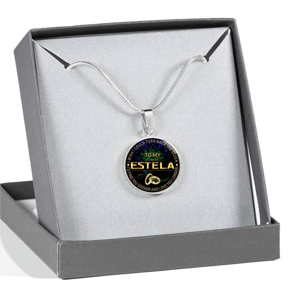 Funnyd Charm Necklace Jewelry Gift for Women HusbandAndWife Gifts Necklace for Mom and Daughter to My Estela I Wish I Could Turn Back Clock I Will Find You Sooner 18K Gold Plated