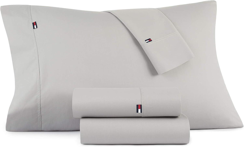Tommy Hilfiger Signiture Solid Sheet Set, Twin, Grey 3