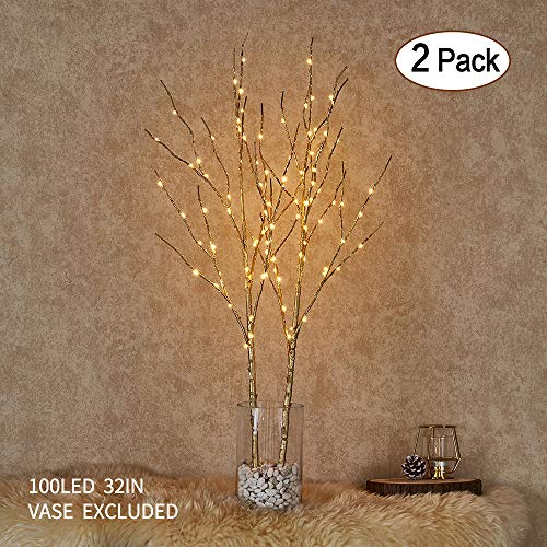 Hairui Lighted Willow Branches Golden with Fairy Lights Decor 32in 100LED, Pre-lit Twig Tree Branch Lights for Home Garden Holiday Valentine Decoration Battery Operated 2 Pack (Vase Excluded)