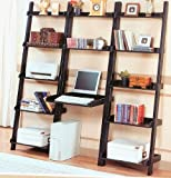 Home Office Wooden Computer Desk Wall Unit Wood Shelves