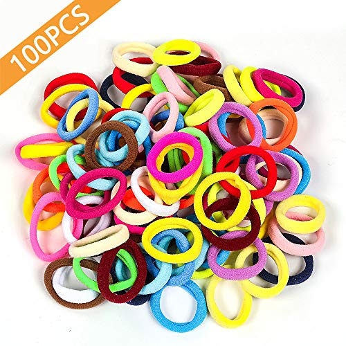 100 PCS Seamless Cotton  Hair Ties in Bulk Mixed Colors Ponytail Holder, No Crease Soft Elastic Hair Bands for Baby Toddlers Girls Kids, 1 Inch in -