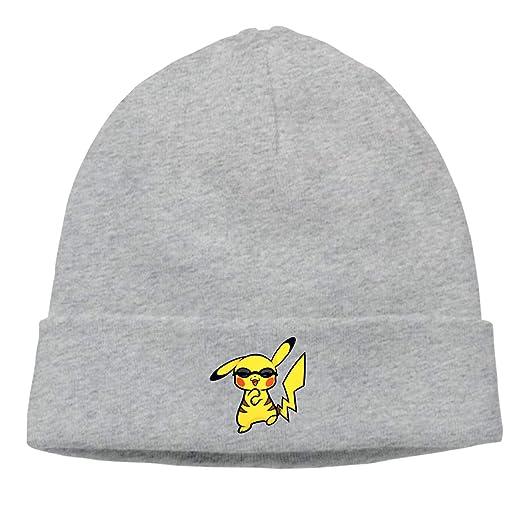 Amazon.com  Shenigon Anime Pikachu Unisex Soft Knitted Hat Gray  Clothing 8038370fb20c