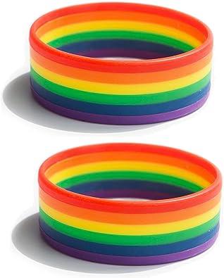 Candyfancy - 2 pulseras LGBT de silicona, de goma, 6 colores, arcoíris, del orgullo gay: Amazon.es: Joyería