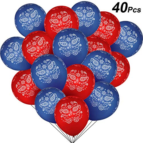 Western Themed Birthday Party (40 Pieces Bandana Assortment (Cowboy or Western) Latex Balloons - Large 12 Inch Latex Balloon for Birthday, Wedding and Western-themed Party)