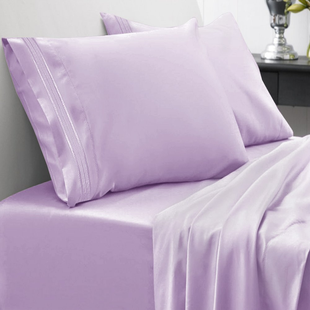 Count Egyptian Quality Brushed Microfiber 4 Piece Deep Pocket Bed Sheet Set, Twin, Lavender