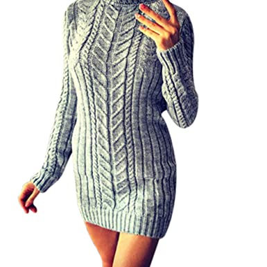 307d41bcfe Mini Dress Piebo Retro Street Clothing Solid College Students Winter Warm  Solid Knitting Turtleneck Sweater Long