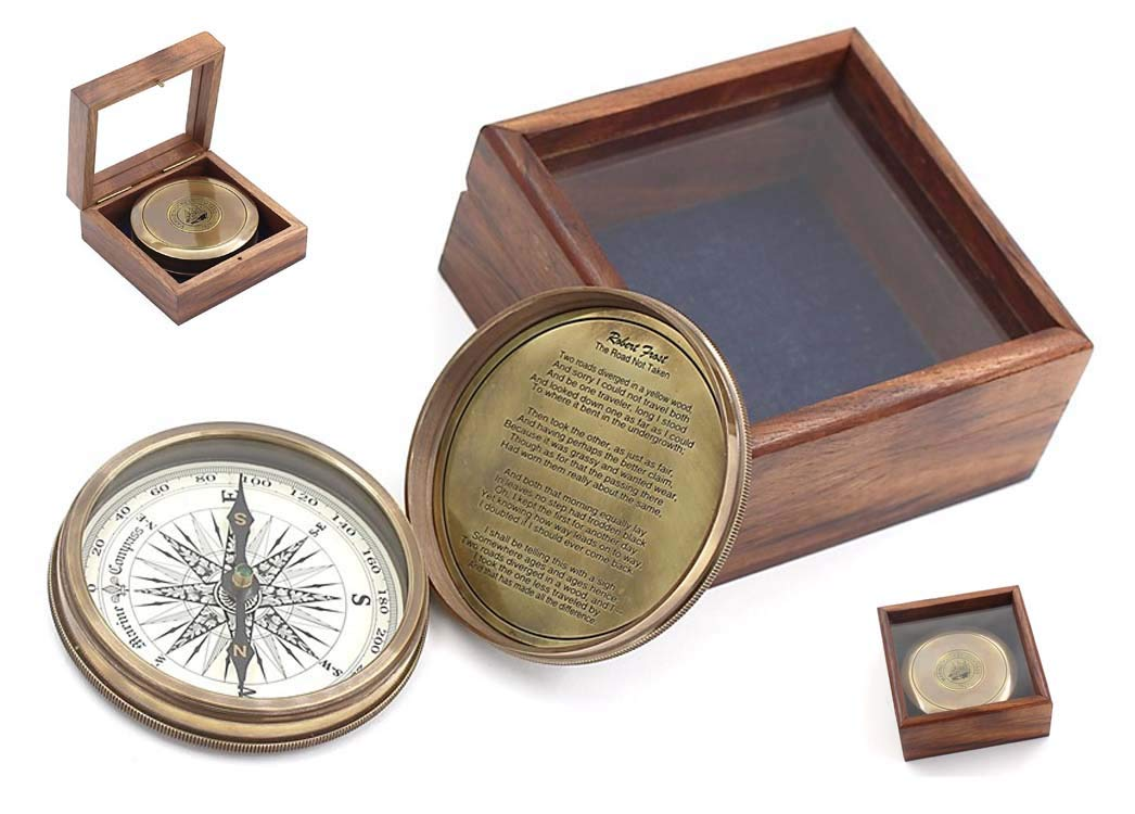 """Roorkee Instruments India 3"""" Robert Frost Poem Compass with Glass Top Hardwood Box"""