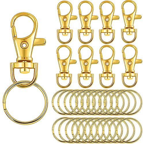 Jdesun 60 Pieces Lobster Claw Clasps Findings Set 30 Pieces Swivel Clasps with 30 Pieces Keychain Rings,Gold Color