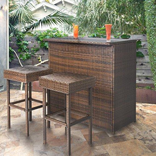3PC Wicker Bar Set Patio Outdoor Backyard Table & 2 Stools Rattan Furniture (Savannah Rattan Garden Furniture)