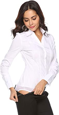 Soojun Mujeres OL Body Blusa Frontal con Botones Camisa con Cuello