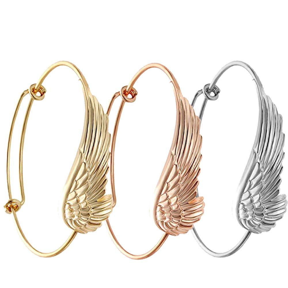 SENFAI Supernatural Protection Angel Wing Adjustable Love Bangles Women Girl Charm Bracelets Gifts