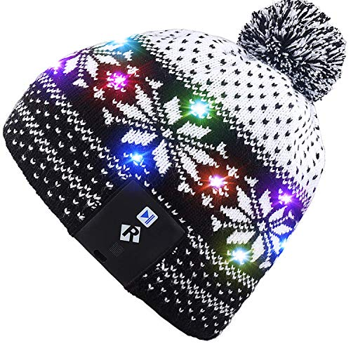Mydeal LED String Light Up Beanie Hat Knit Cap with Copper Wire Colorful Lights 4 feet 18 LEDs for Men Women Indoor and Outdoor, Festival, Holiday, Celebration, Parties, Bar, Christmas Gifts - Black