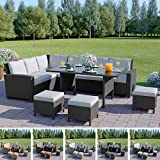 Abreo 9 Seater Rattan Corner Garden Dining Set Furniture Black Brown Dark Mixed Grey (Dark Mixed Grey With Dark Cushions)