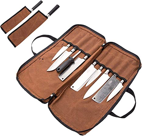 QEES 1 bolsa para cuchillos de chef con 2 vainas para cuchillos, estuche para cuchillos de chef de lona encerada, bolsa de herramientas resistente al agua, color marrón: Amazon.es: Deportes y aire