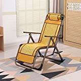 DIDIDD Mahjong loungers folding bed break bed office nap chair old man leisure chair bamboo chair (color optional),E